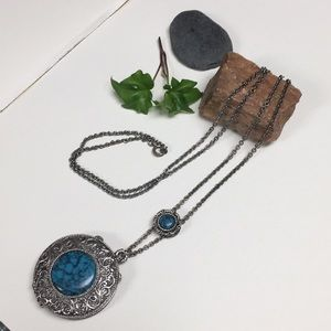 Antique silver tone turquoise perfume necklace